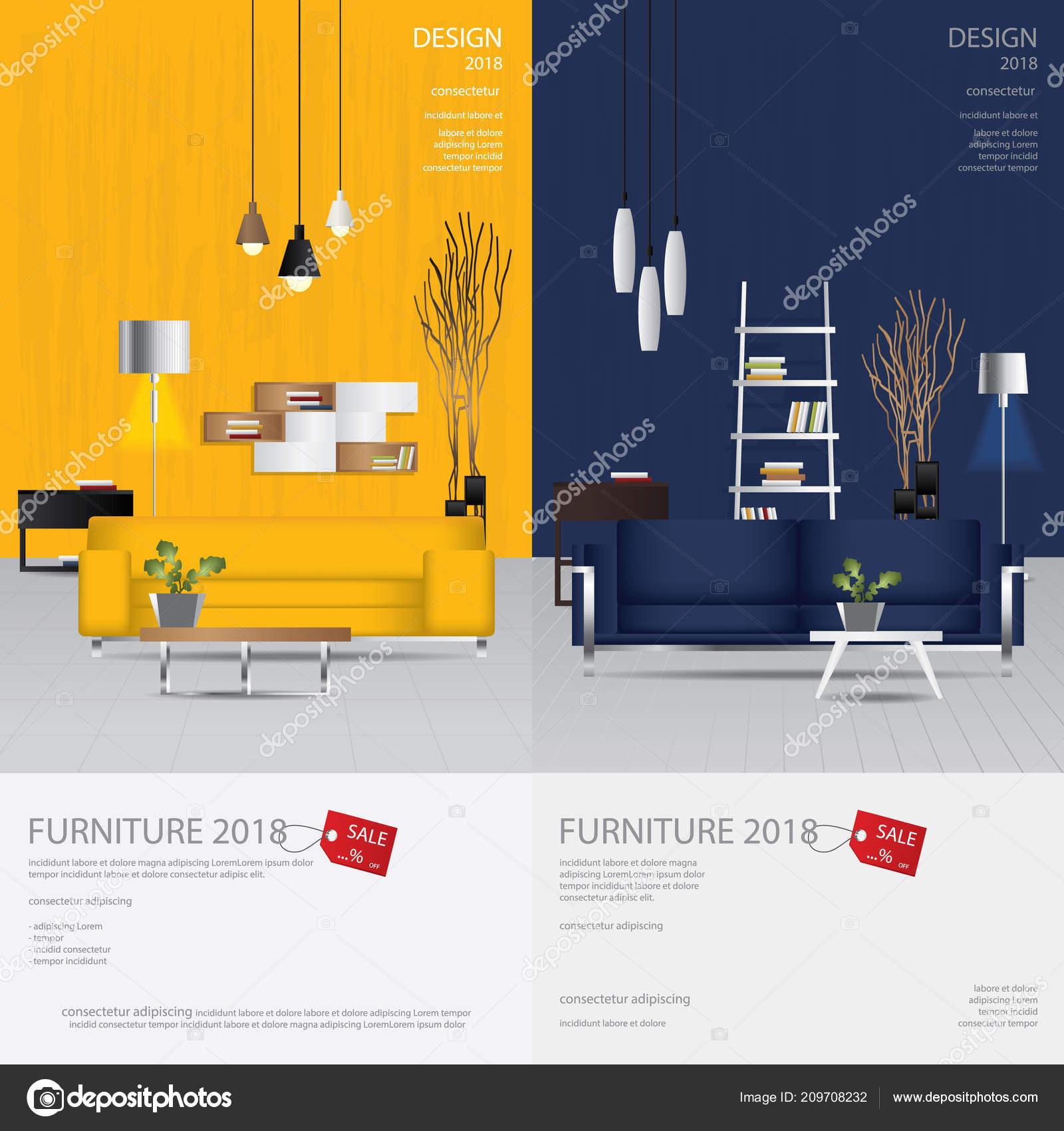 Vertical Banner Furniture Sale Design Template Vector Illustration