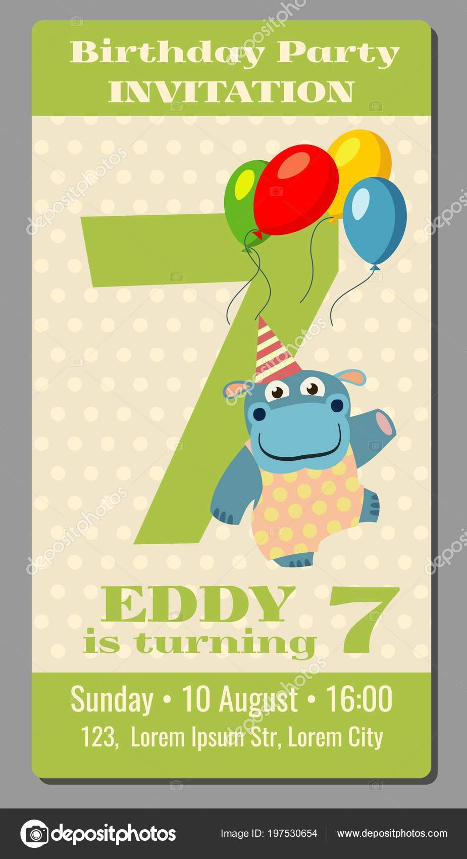 Birthday anniversary party invitation pass ticket with cute hippo vector  template 5 years old 195530654