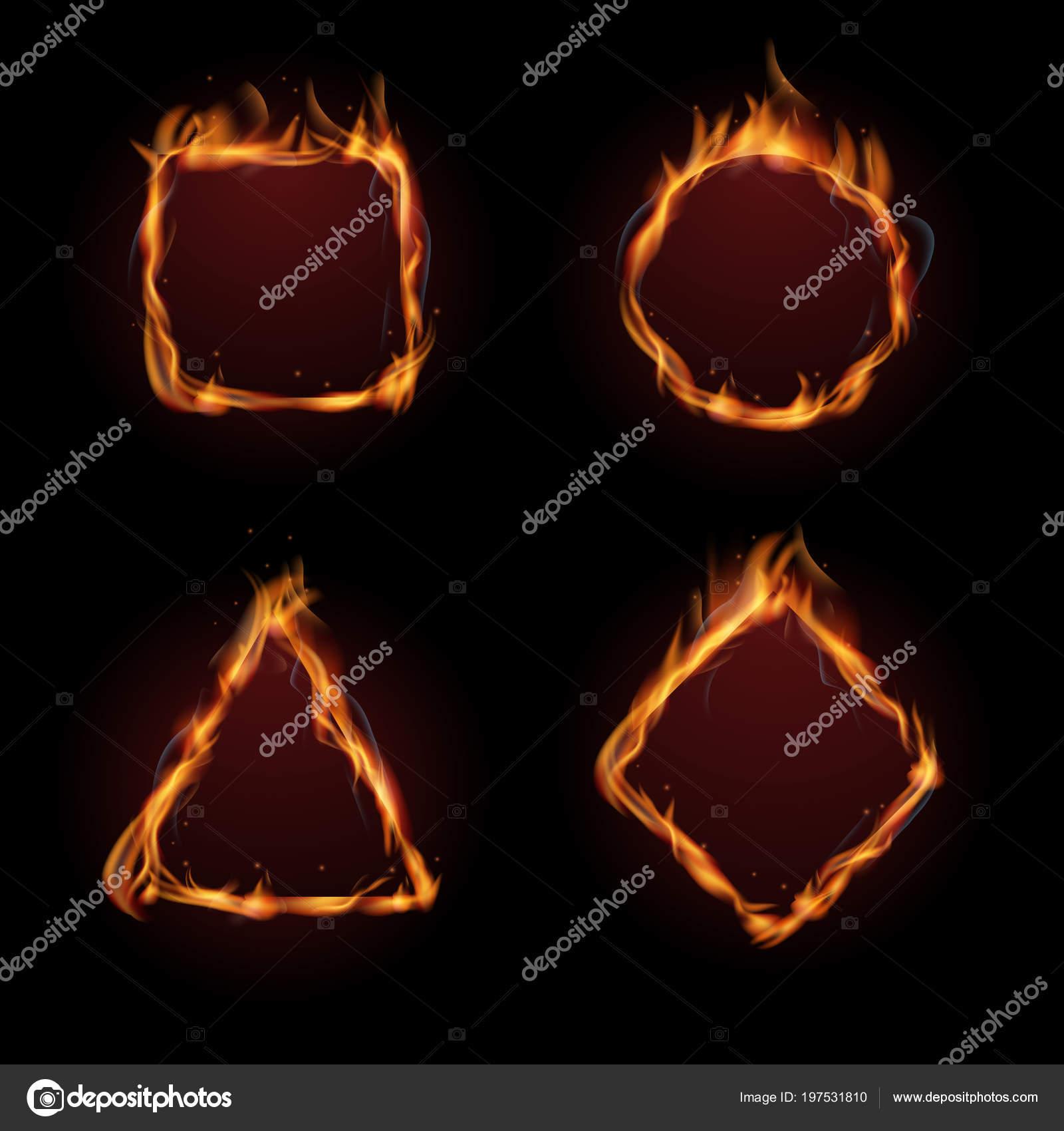 Fuego caliente llama marco vector set — Vector de stock © MicroOne ...