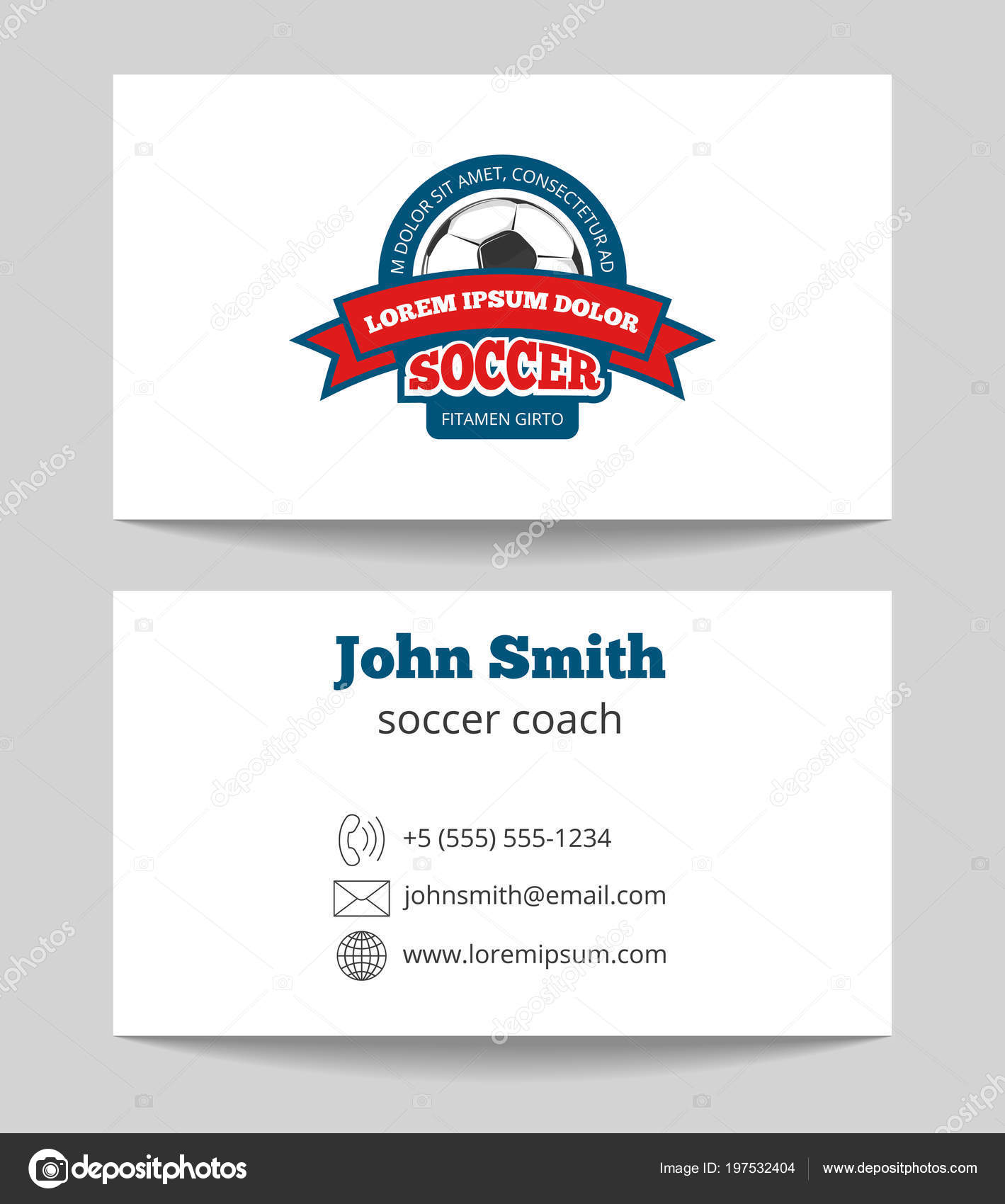 soccer coach business card template with logo stock vector