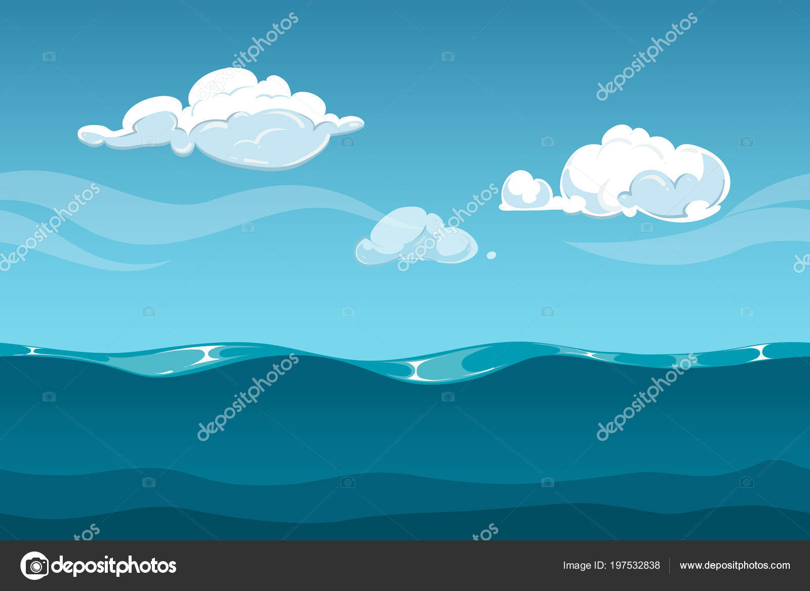 Sea Or Ocean Cartoon Landscape With Sky And Clouds Seamless