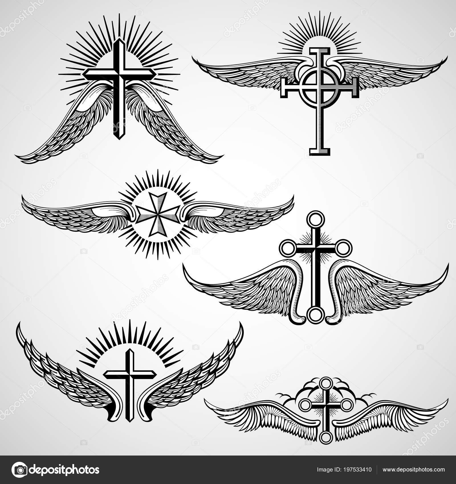 Vintage Kruis En Vleugels Tatoeage Vector Elementen Stockvector