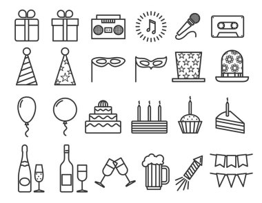 Party birthday holidays icons thin line vector outline icon set
