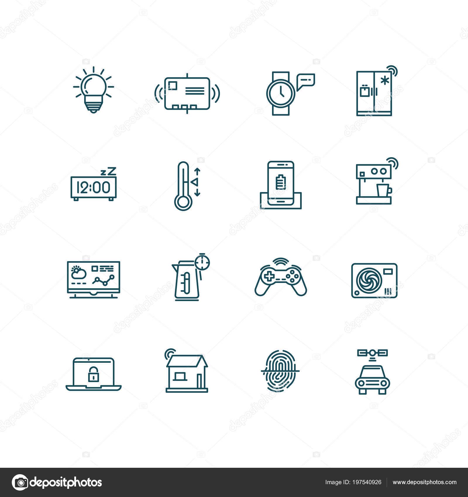 Smart Haus Symbole. Home-Automation Control Systeme Symbole für das ...