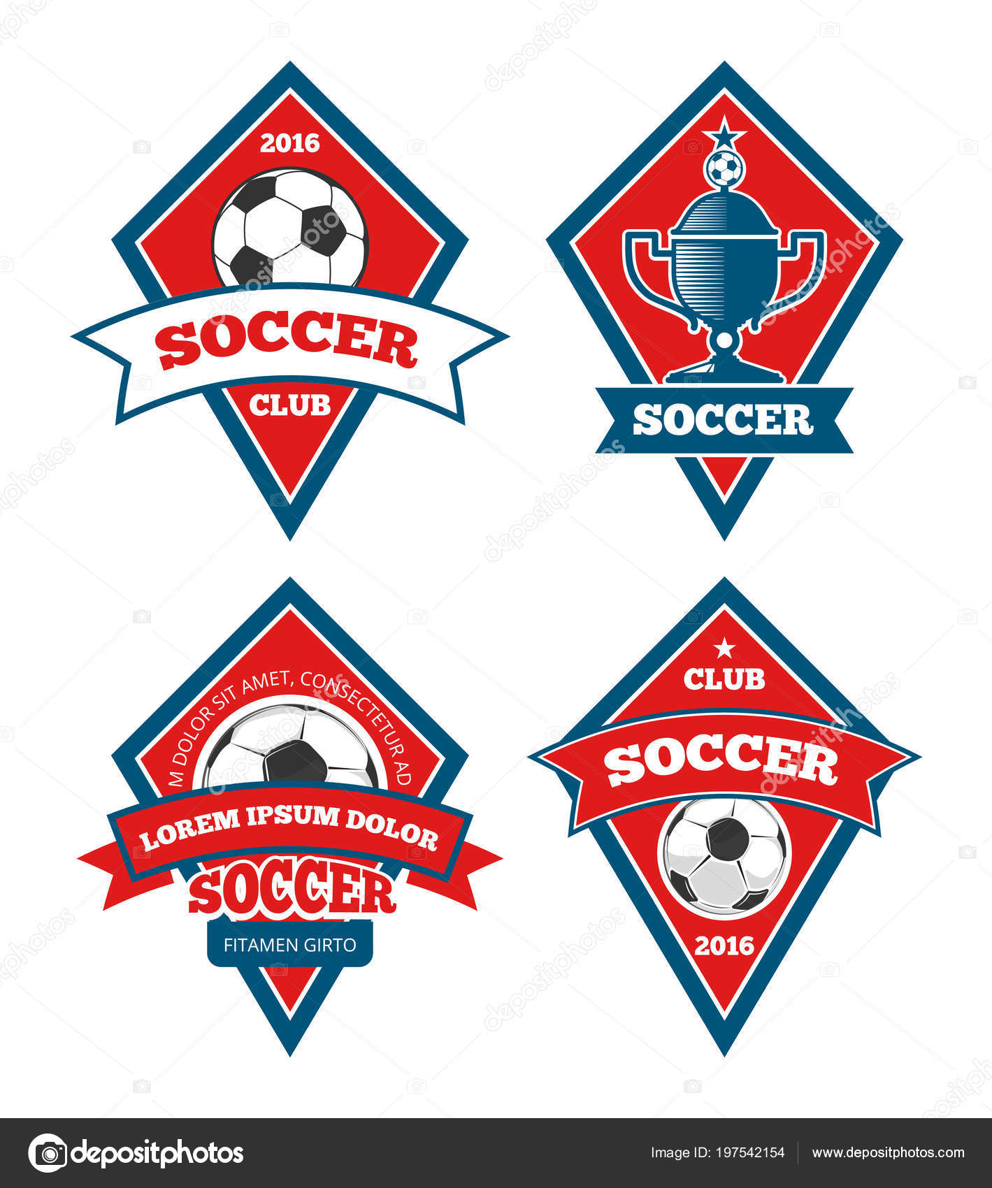 Soccer Logo Templates Collection Isolated White Stock Vector