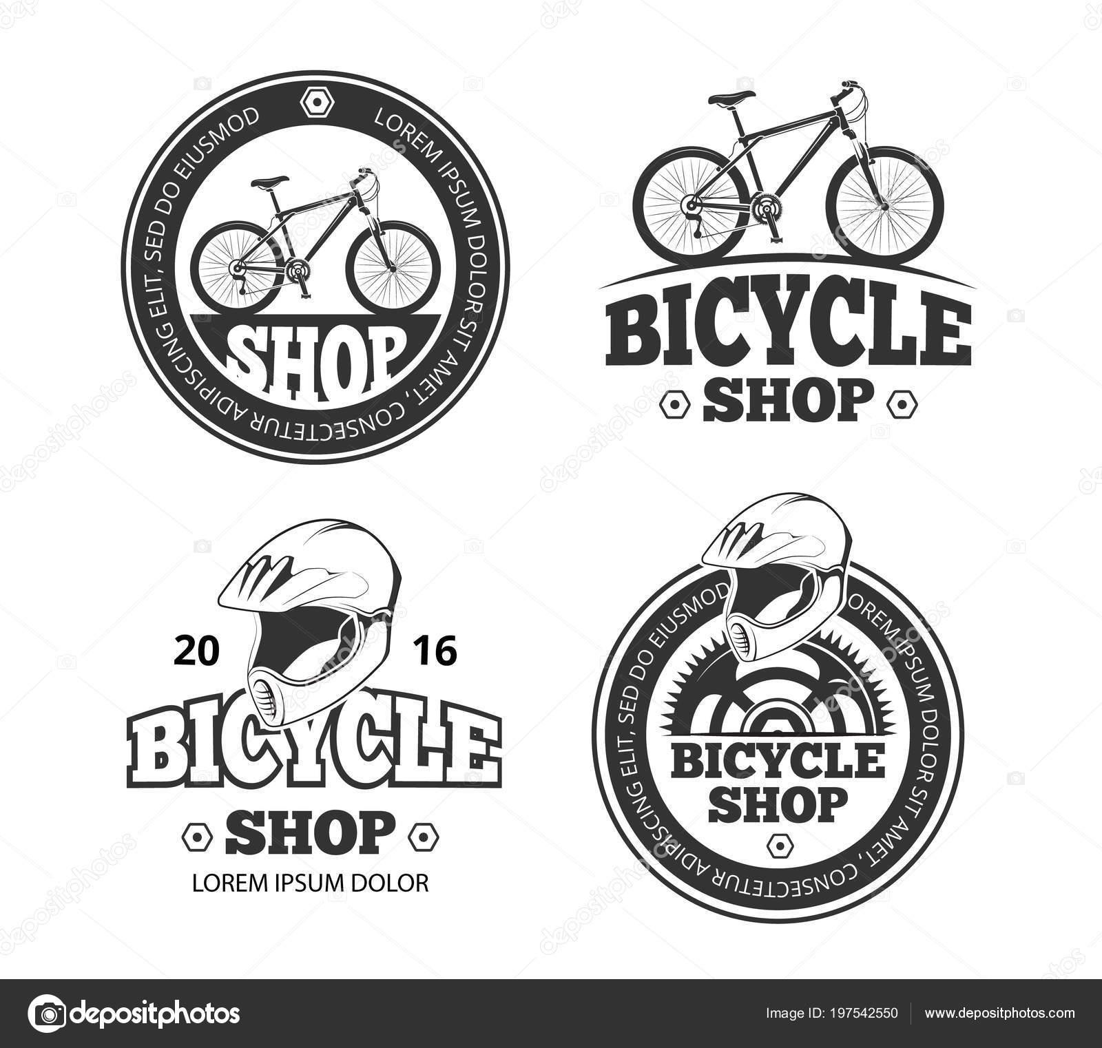 6acaa217ea6e Retro kolo shop logo sada. Etikety a štítky pro sport bike shop. Znaky pro  obchod kol a kol — Vektor od ...