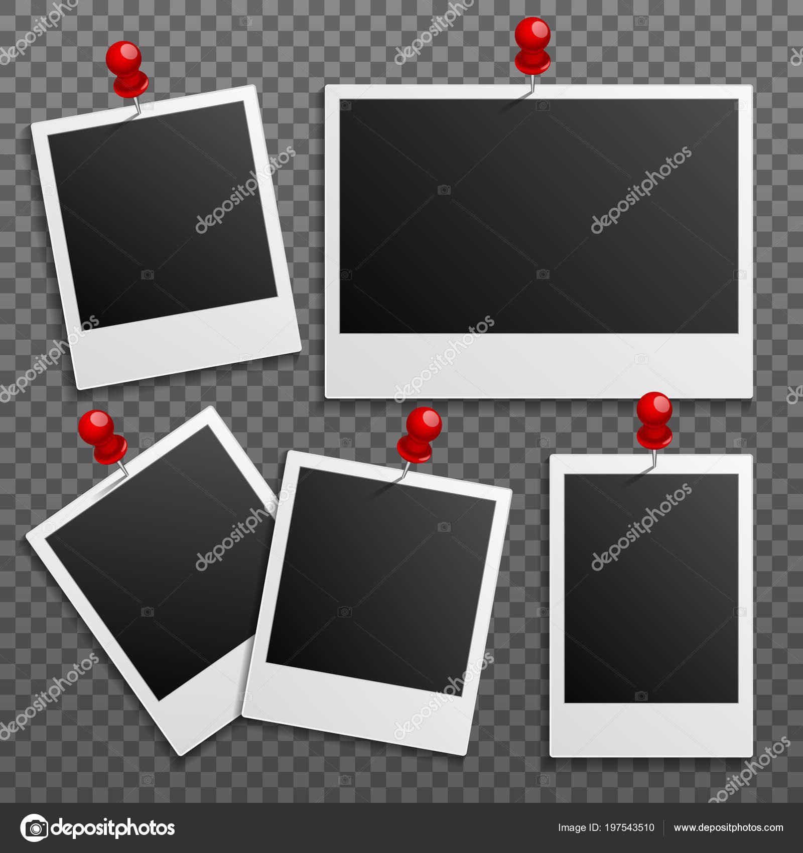 cadres photo polaroid sur mur attach avec des pingles set vector image vectorielle microone. Black Bedroom Furniture Sets. Home Design Ideas