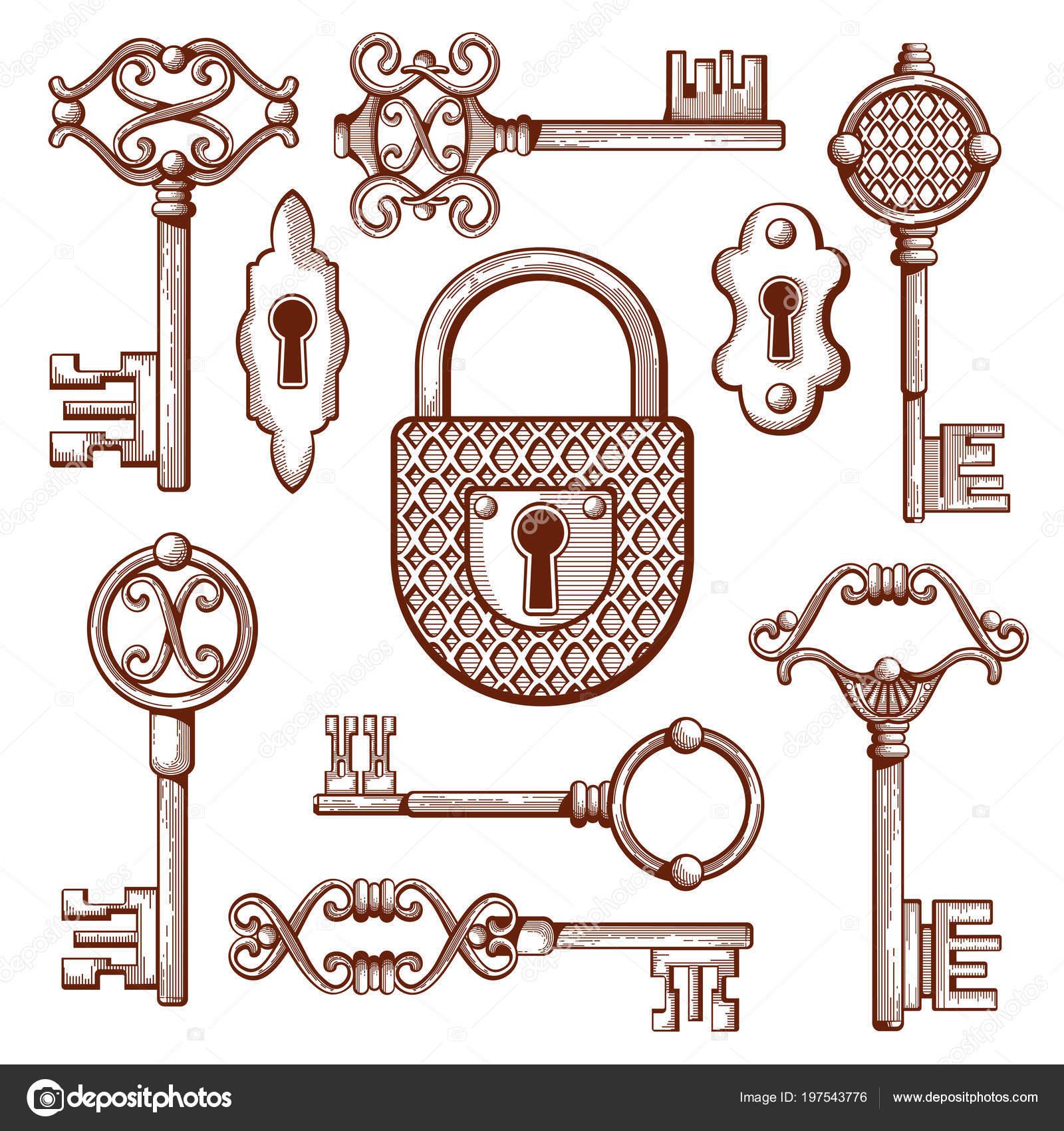 Vintage Ilustração De Vetor De Mão Desenhada De Chaves