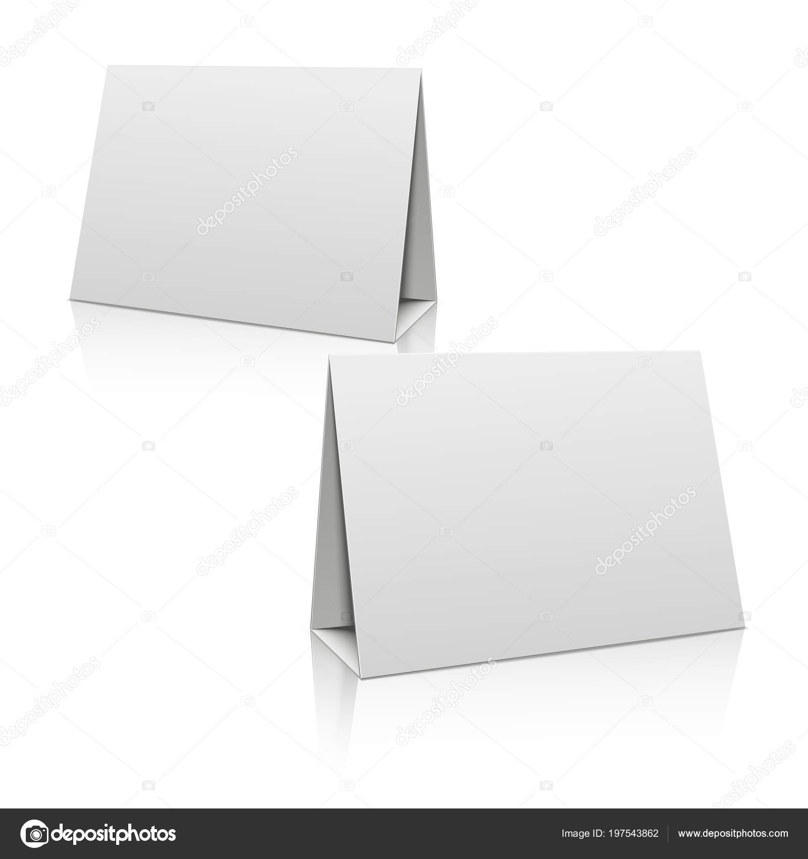 blank white paper stand table holder card 3d vector design template mockup blank for brochure or card illustration horizontal poster vector by microone