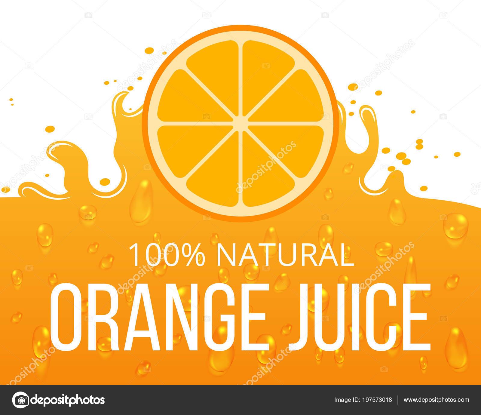 Plantilla de etiqueta de jugo de naranja natural — Archivo Imágenes ...