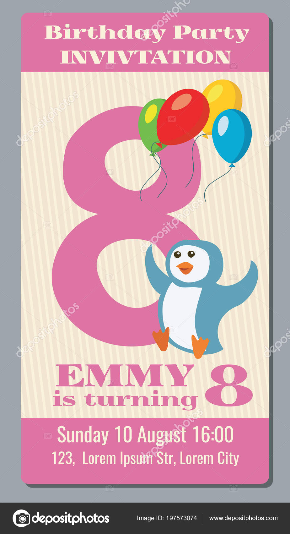 Birthday Party Invitation Pass Vector Ticket With Funny Penguin For Kids 8 Years Old Event Character Illustration By