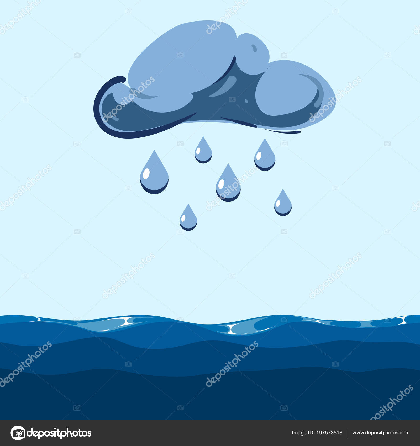 Vector Cloud With Falling Rain Sea Stock Vector C Microone