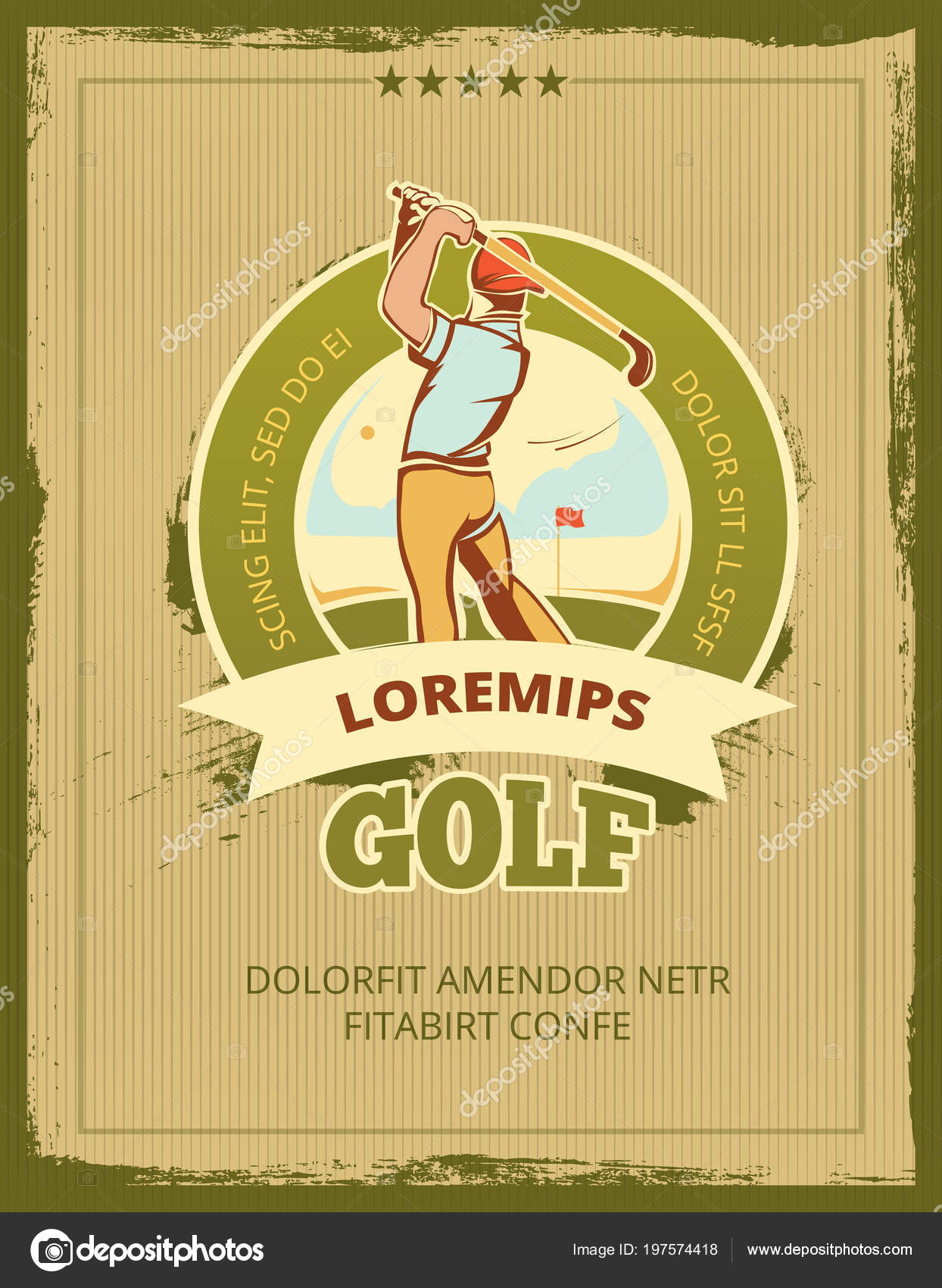 Vintage golf tournament vector poster — Stock Vector ...