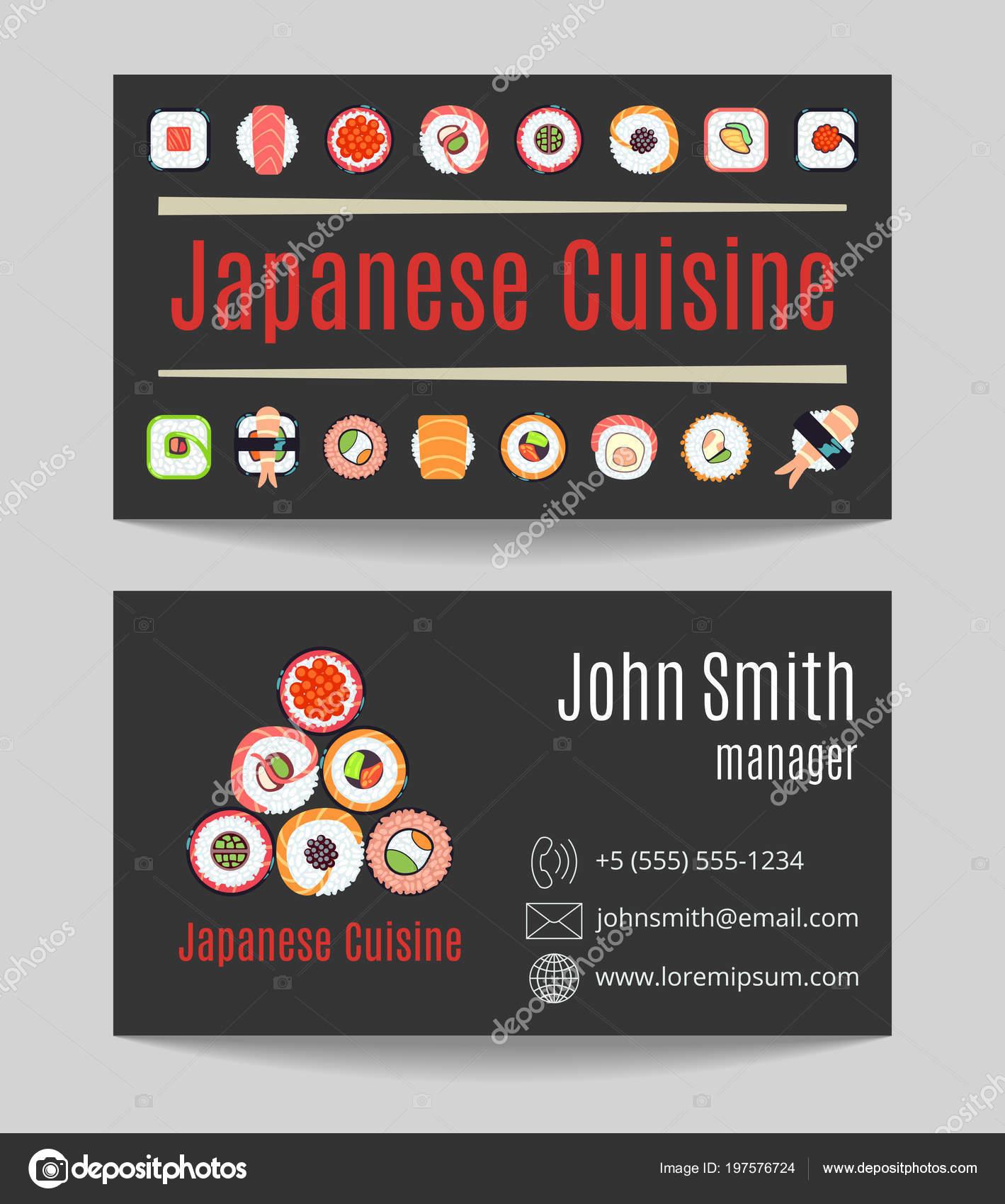 Restaurant De Cuisine Japonaise Black Porte Cartes Les Deux Cts Vector Illustration Vecteur Par MicroOne