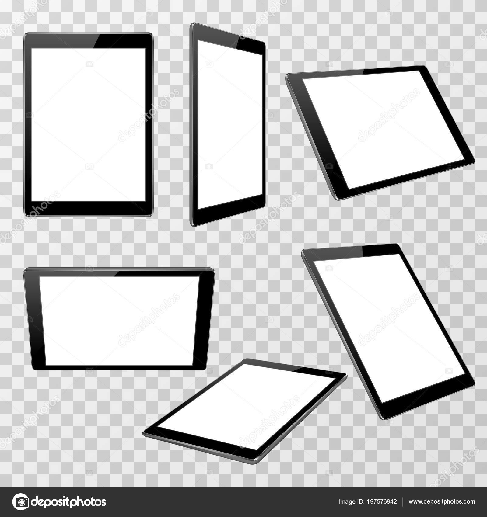 Plantilla de vector realista tablet negro aislado sobre fondo ...