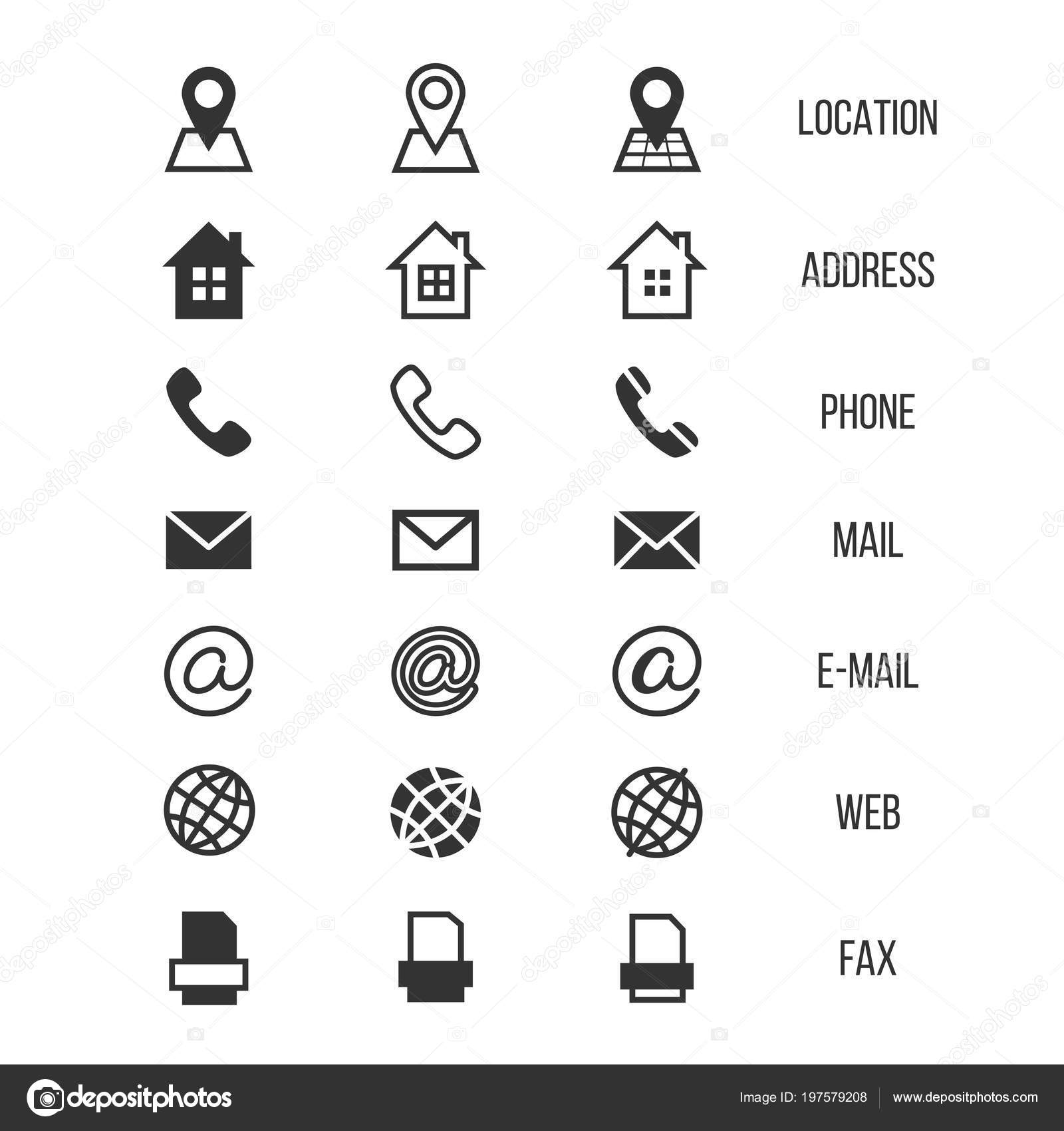 Business Card Vector Icons Home Phone Address Telephone Fax