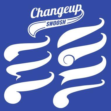 Vintage swash baseball logo tails vector set