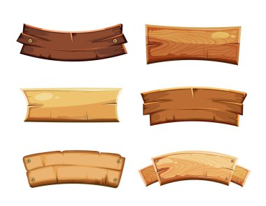 Cartoon wood blank banners and ribbons, western signs vector set