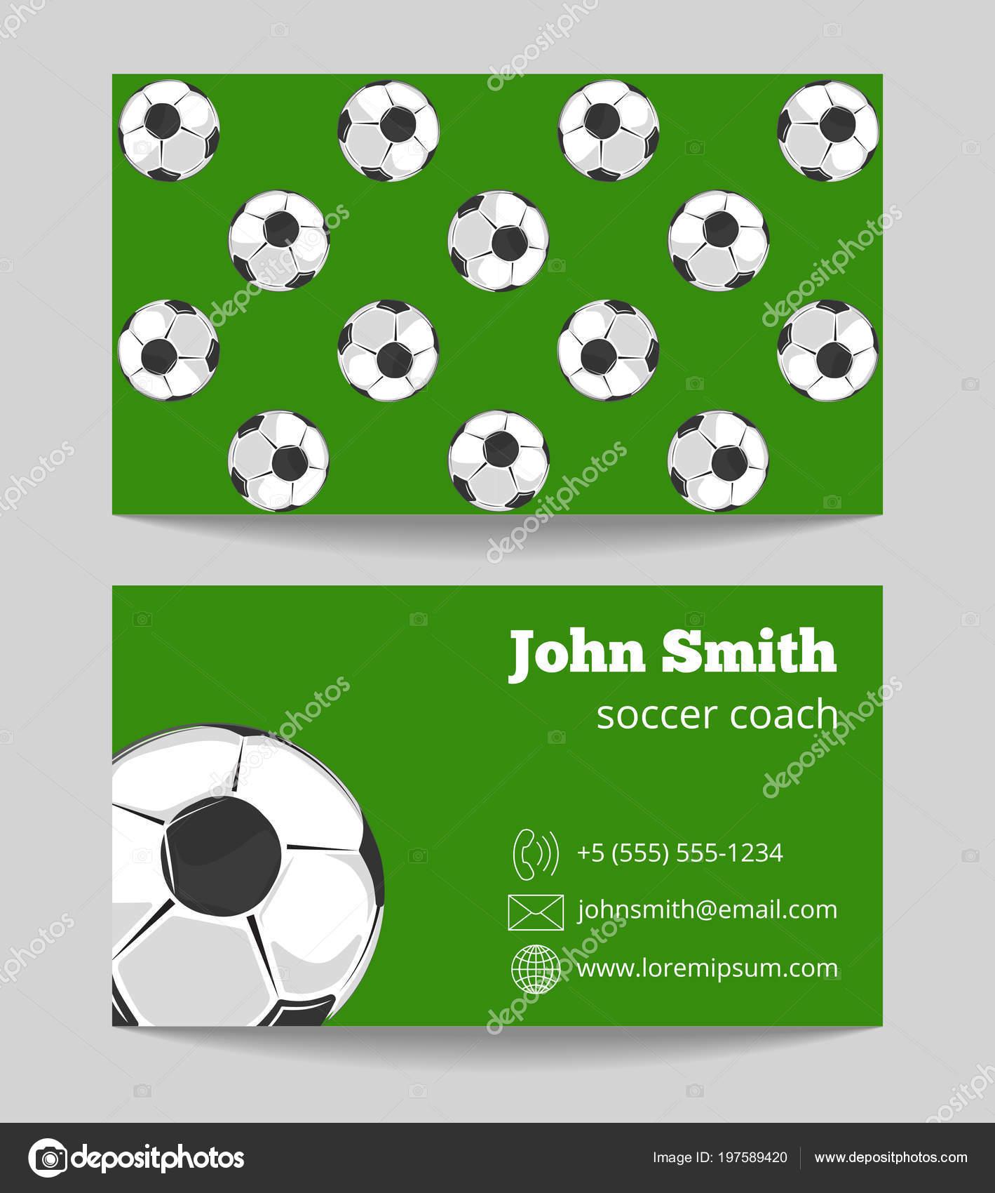 Fußball Grüne Feld Visitenkarte Vorlage Stockvektor