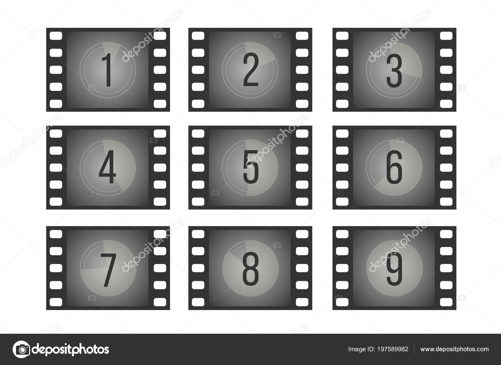 Old cinema film countdown movie frames with numbers vector set ...