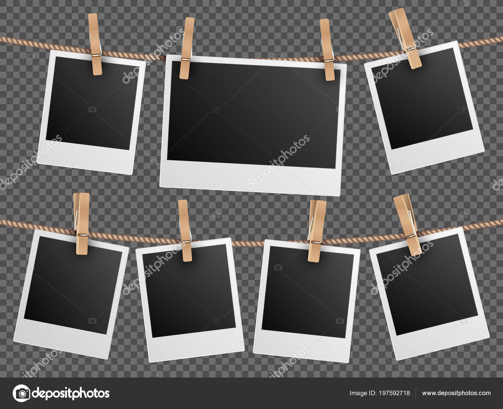 Marcos de fotos retro colgante en cuerda aislaron ilustración de ...