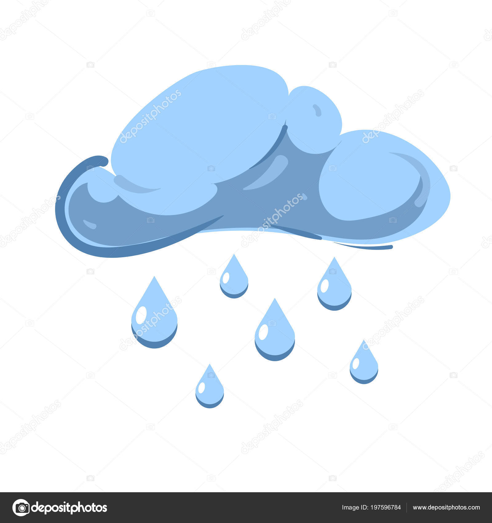 Blue Vector Cloud With Falling Rain Isolated Over White Stock