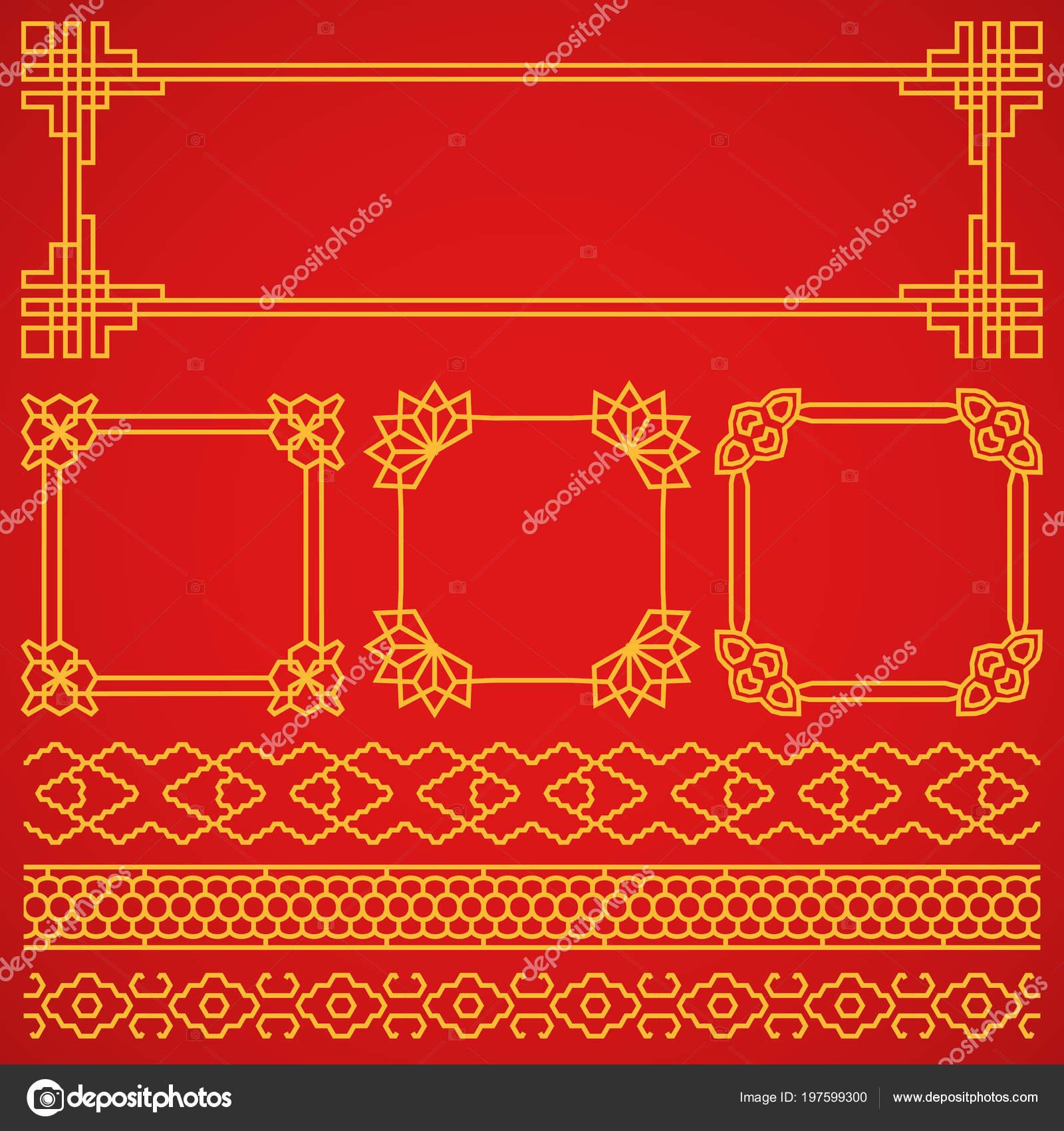 Vector Asian, Korean, Chinese, Japanese Retro Frames, Borders Set Decoration