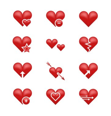 Heart love emoji, emoticons vector set. Broken heart, arrow and star illustration clip art vector