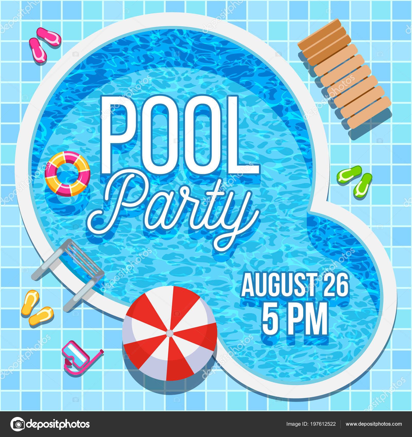 Invitación de fiesta de verano con plantilla de vector de piscina ...