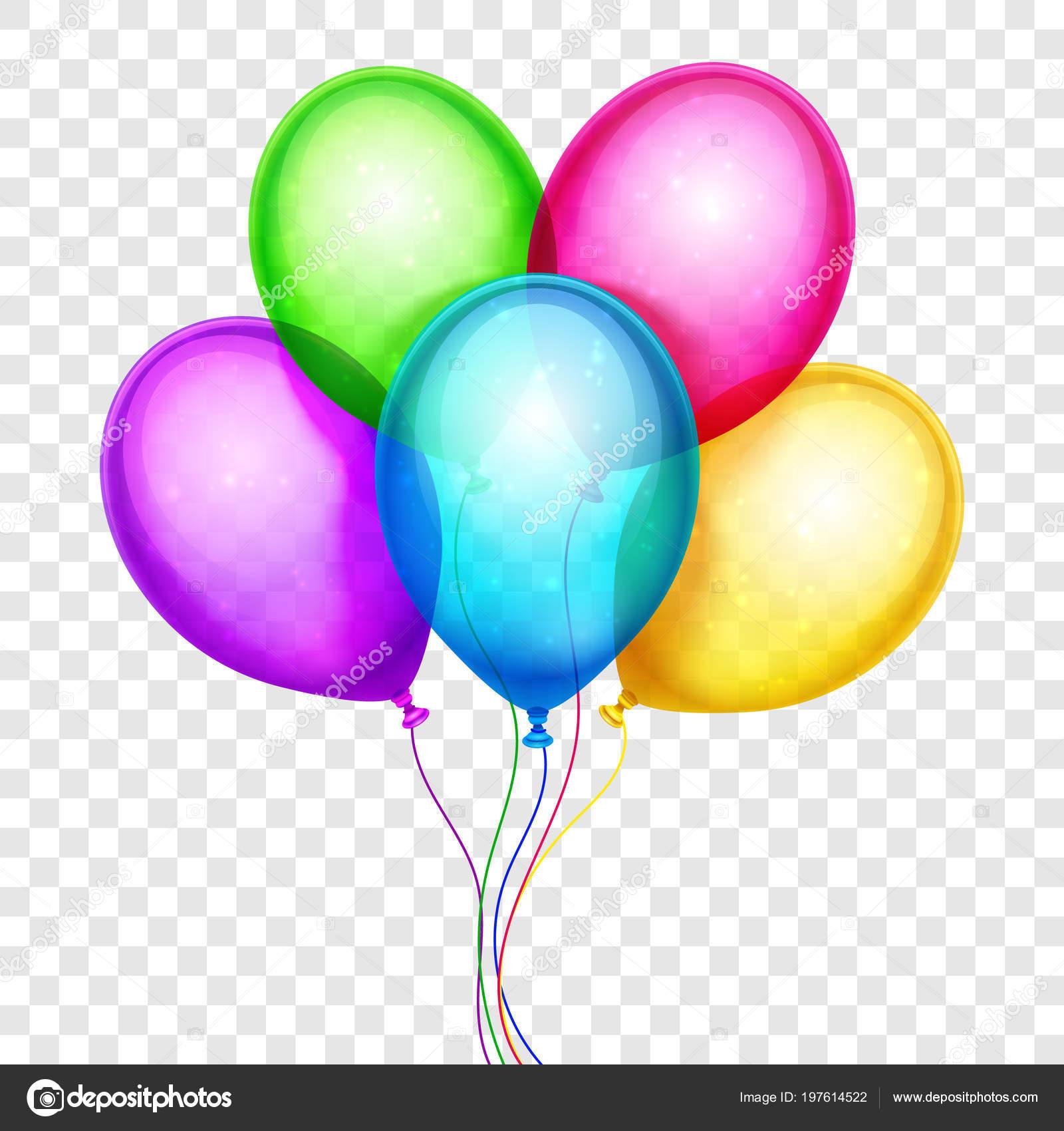 Wektor Kolorowe Balony Dekoracje Urodzinowe Na Przezroczystym Tle