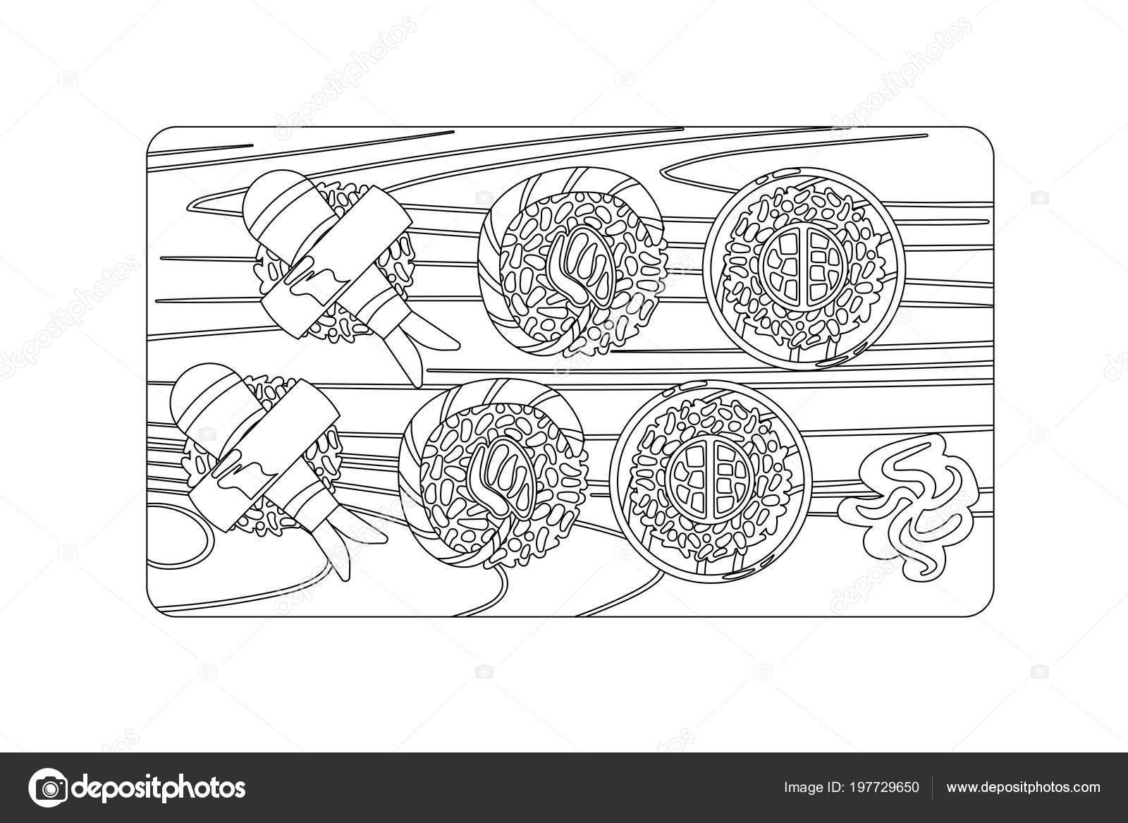 Japonske Jidlo Vektorove Obrysy Kresleni V Cerne A Bile Stock