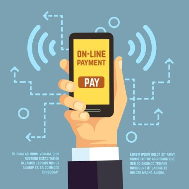 Online payment transfer, mobile pay with smartphone. e banking vector concept