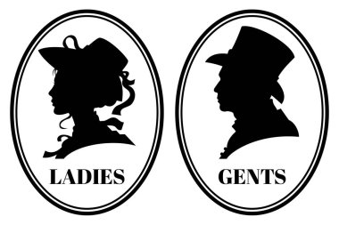 Vintage toilet wc vector sign with lady and gentleman head in victorian hats and clothes