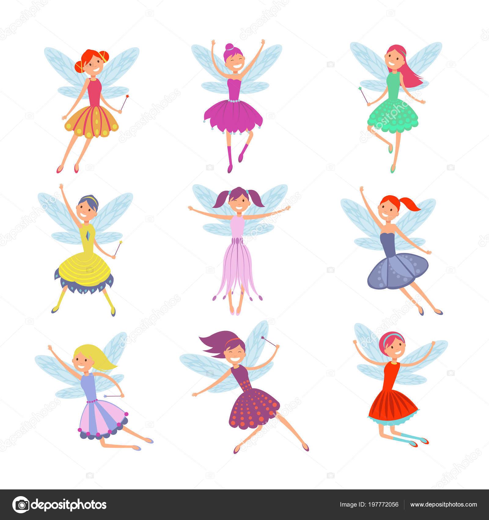 3fa41a95284f Καρτούν ιπτάμενα νεράιδες σε πολύχρωμα φορέματα διάνυσμα σύνολο. Χαριτωμένο  νεράιδα elf με συλλογή διάνυσμα ανέμους. Το κορίτσι φαντασίας νεράιδα με  φτερά ...
