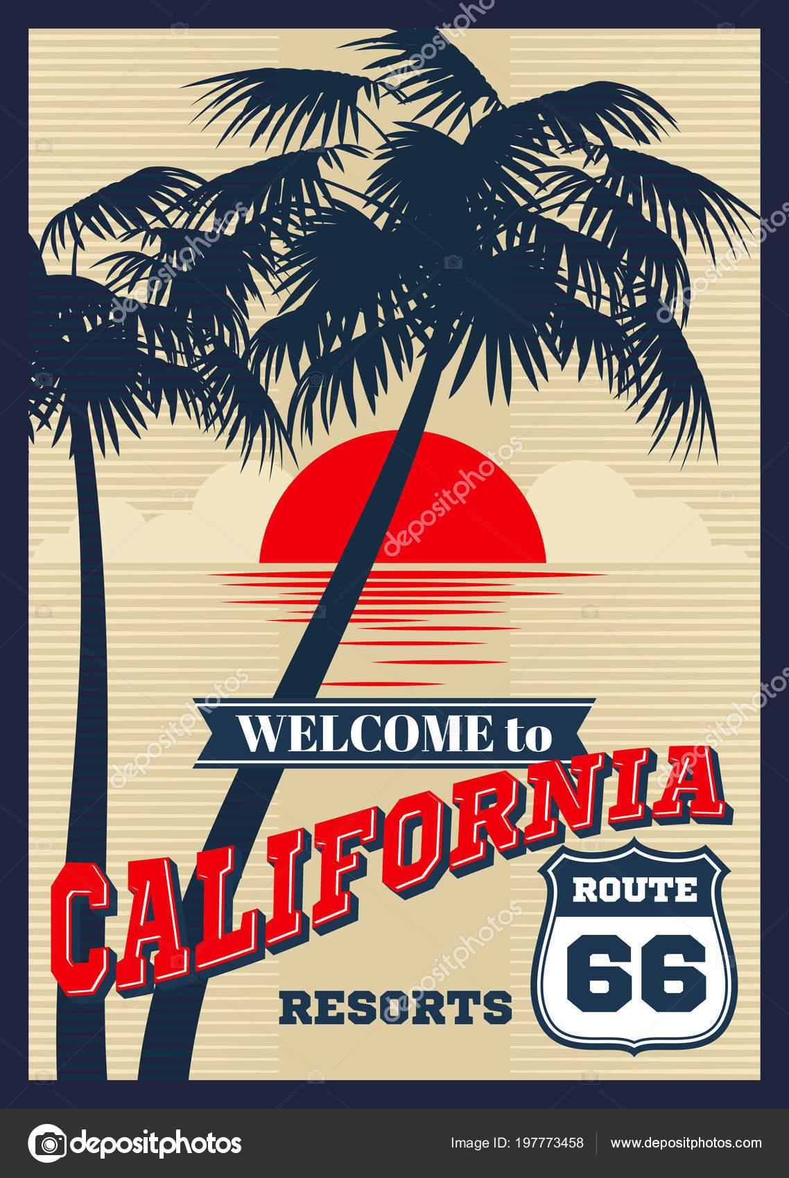 Vintage California Vector Summer Poster Retro T Shirt Print