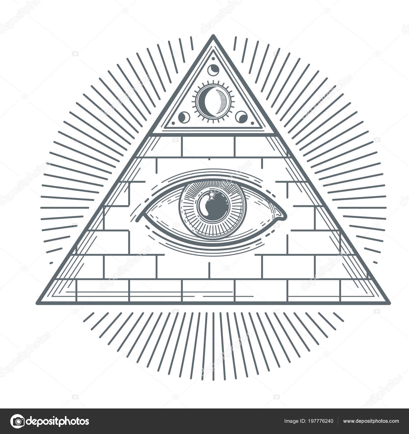 Mystical Occult Sign With Freemasonry Eye Symbol Vector Illustration
