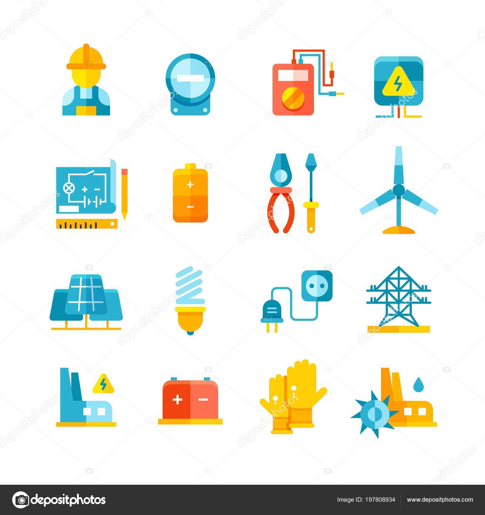 Electricity Electric Meter Electrical Equipment Flat Vector Icons