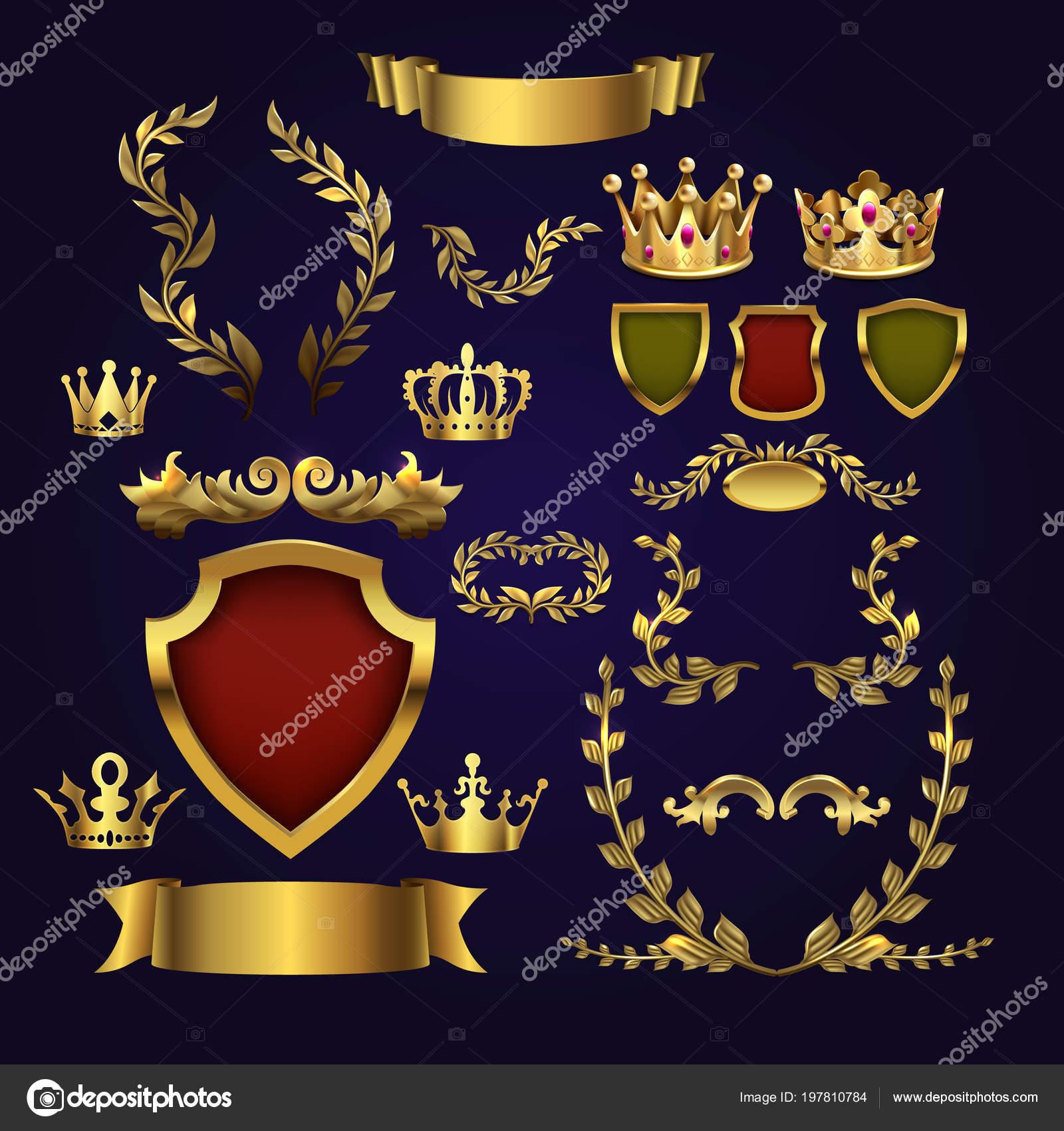 Elementos heráldicos de oro vector. Coronas de Reyes, laurel corona ...