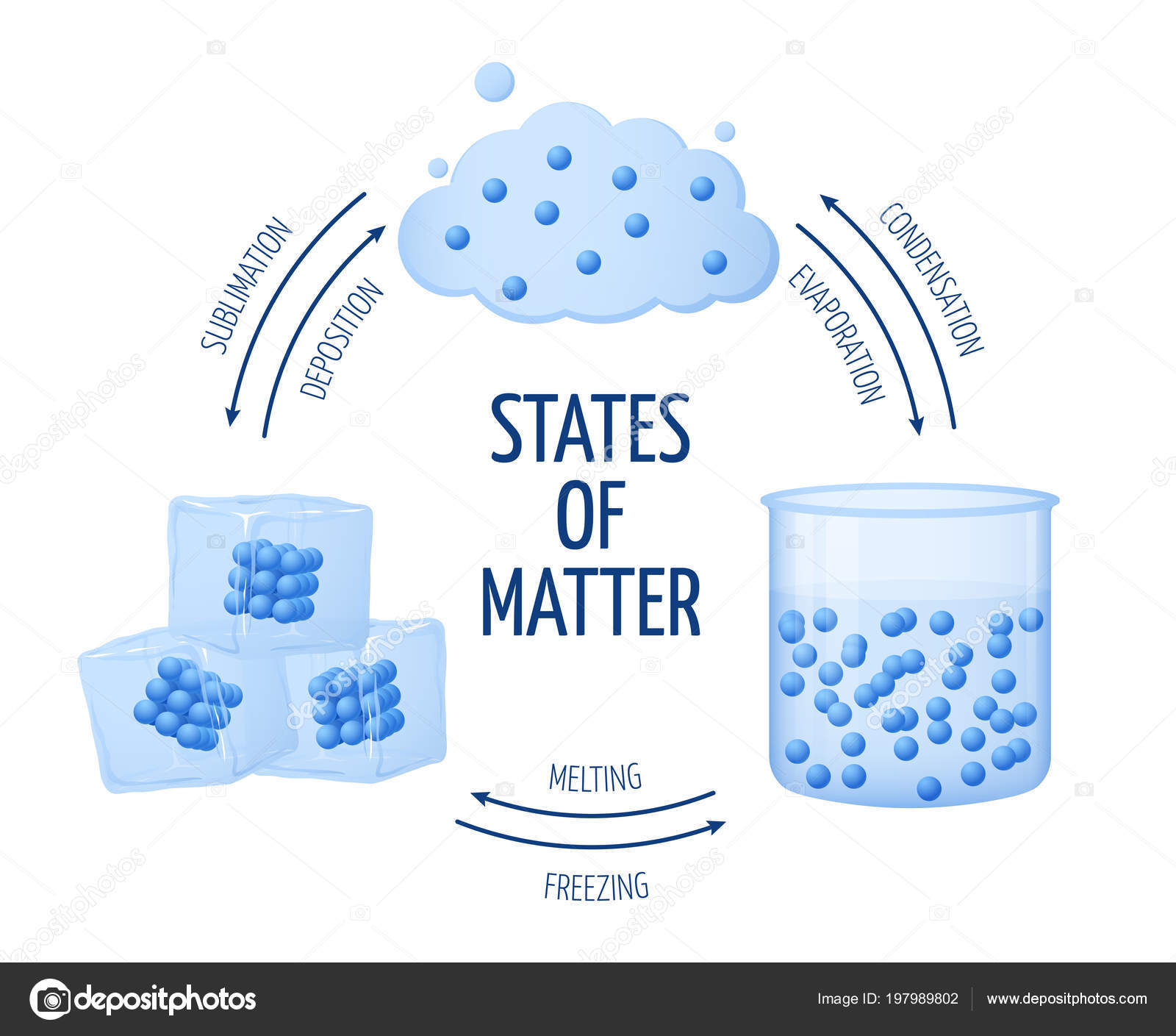 Different states of matter solid liquid gas vector diagram stock different states of matter solid liquid gas vector diagram set of matter chemistry water illustration of ice and water matter vector by microone ccuart Gallery