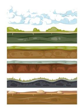 Set of landscape earth backgrounds for mobile games apps. Illustration of graphic soil stock vector