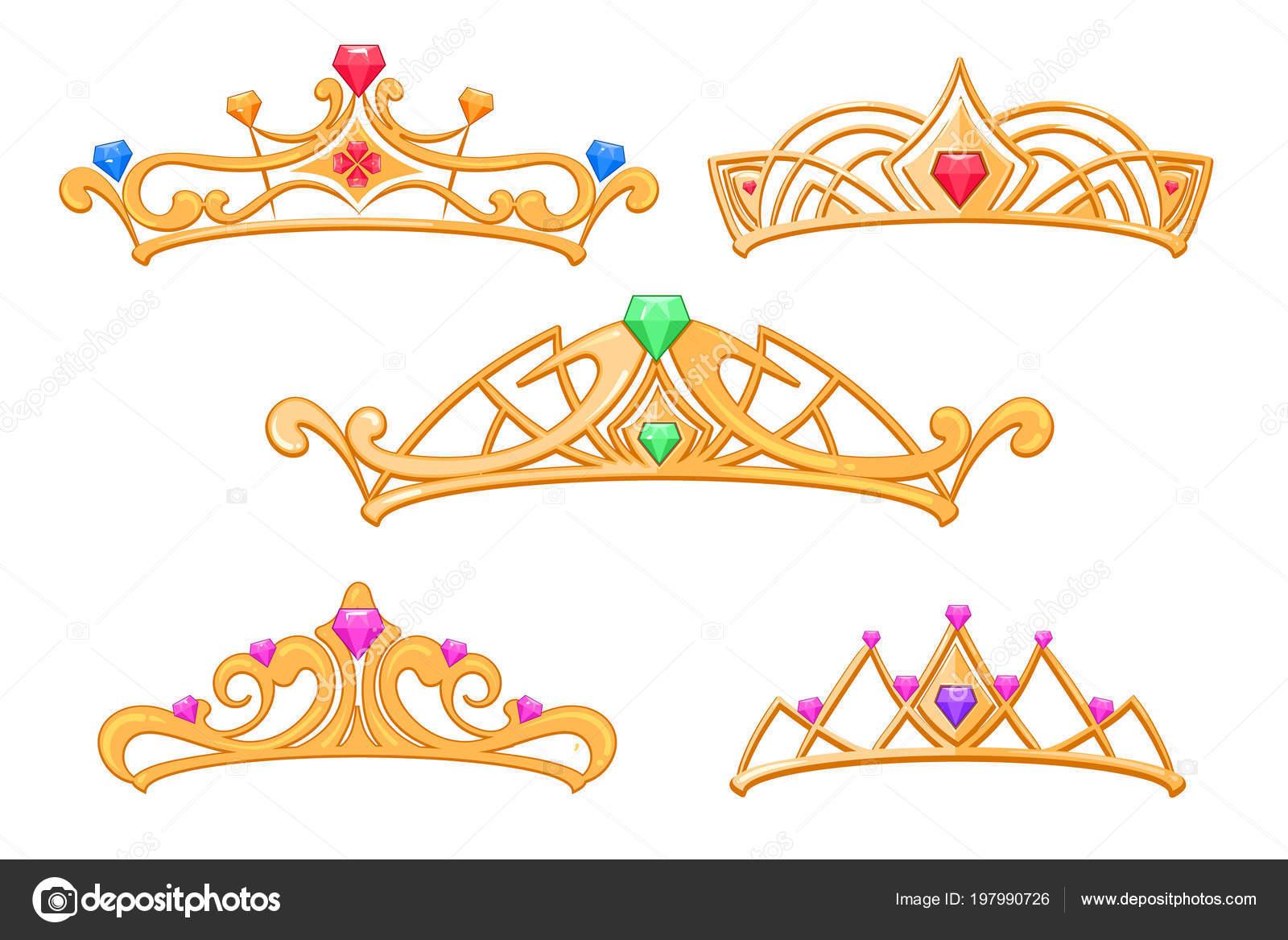 Dibujos Tiaras Coronas Princesa Vector Conjunto De Tiaras Con