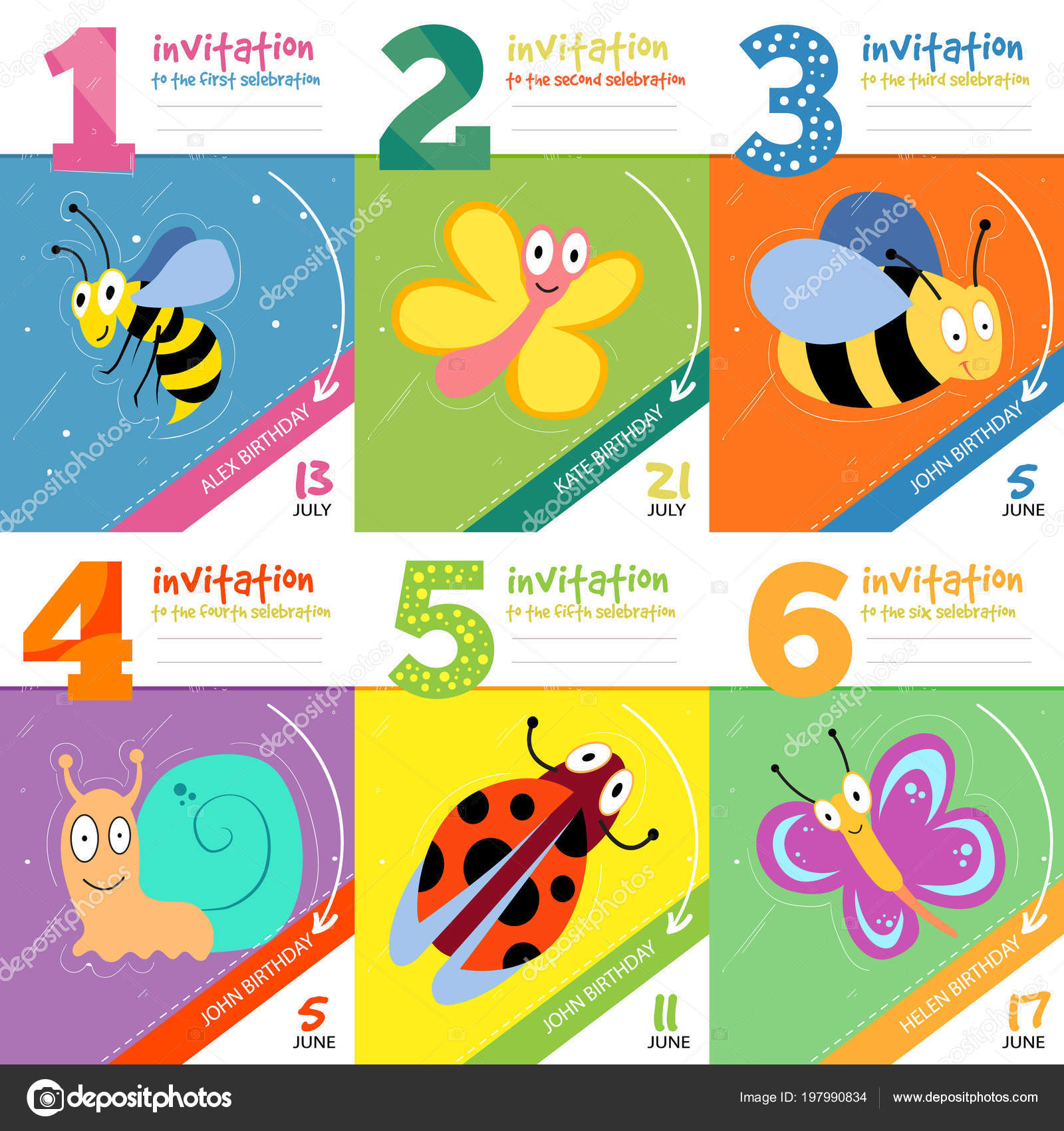 Kids birthday invitation cards with cute bugs insects vector set kids birthday invitation cards with cute bugs insects vector set of invitation to birthday illustration design invitation card vector by microone stopboris Images