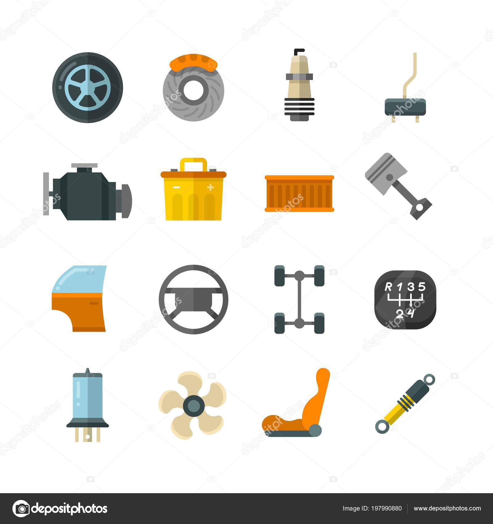 Vehicle Auto Technology Car Parts Flat Vector Icons Stock Vector