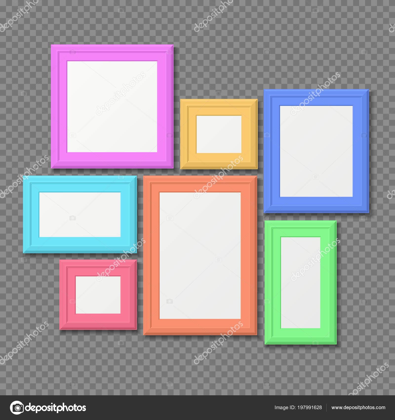 Conjunto de vector de marcos de pared de color rectángulo retrato ...