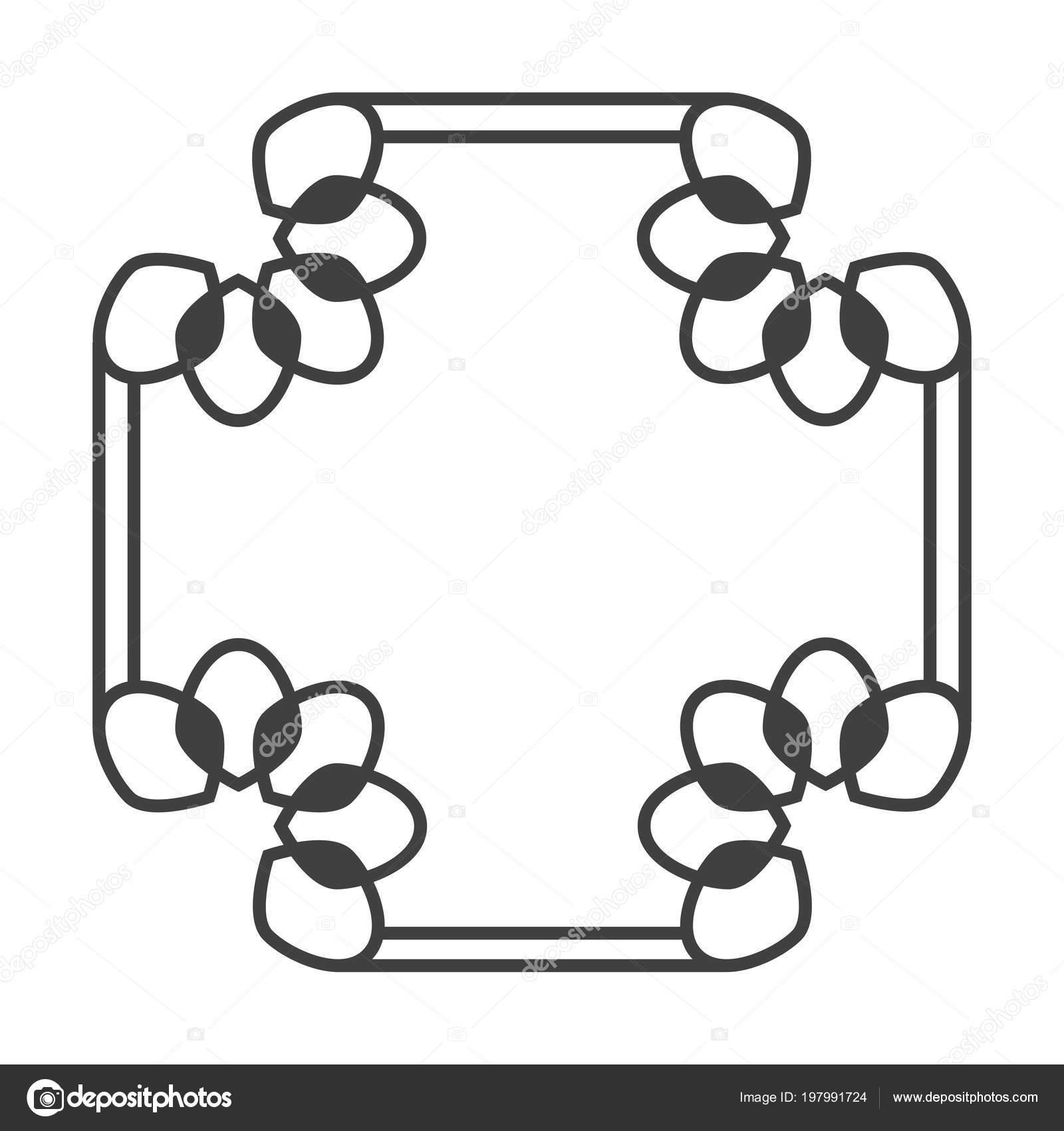 Cuadrados retro marco asiático vector en blanco y negro — Archivo ...