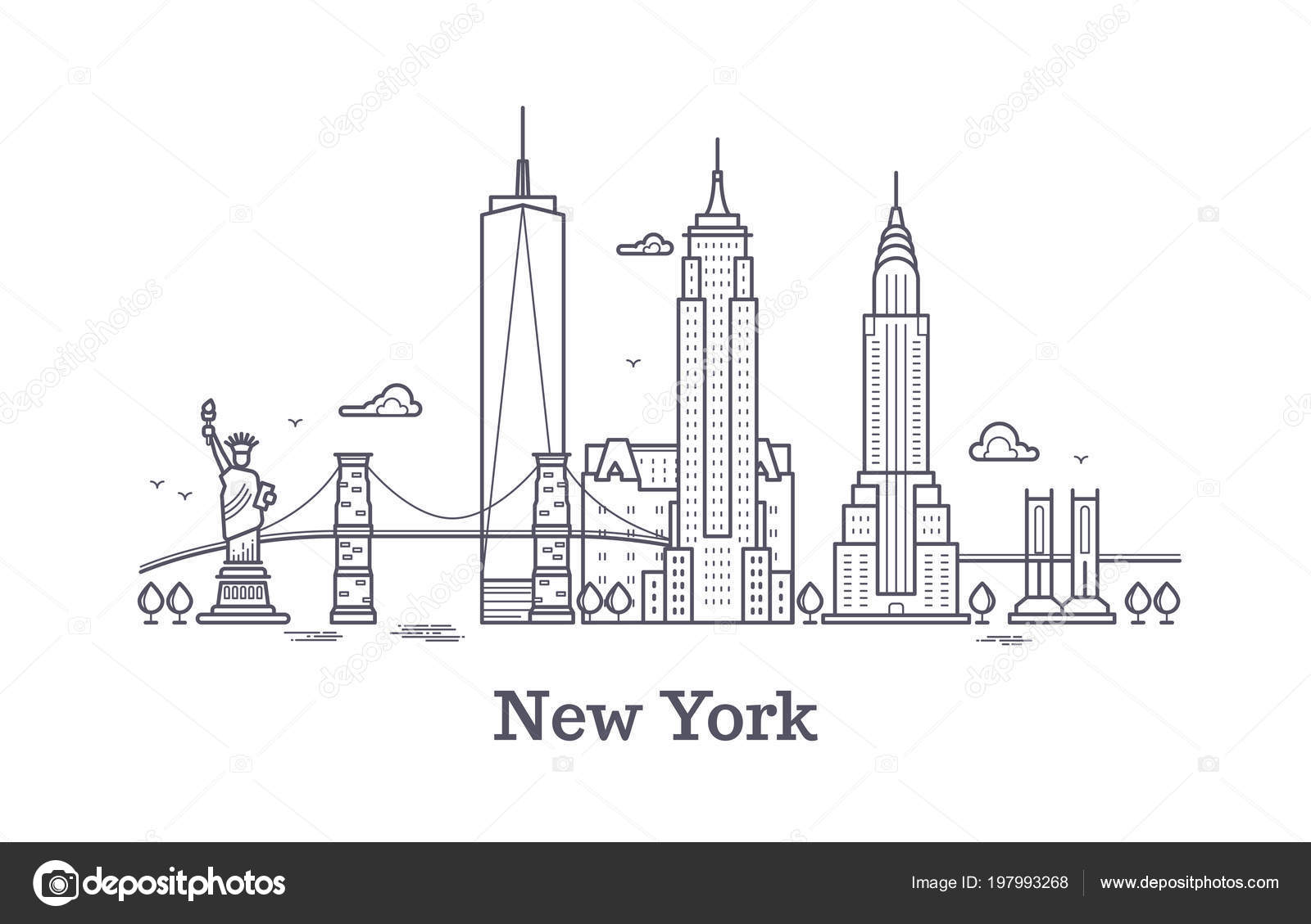New York City Line Outline Wiring Diagrams Steam Mop Diagram And Parts List For Bissell Wetcarpetcleanerparts Skyline Nyc Silhouette Usa Tourist Rh Depositphotos Com