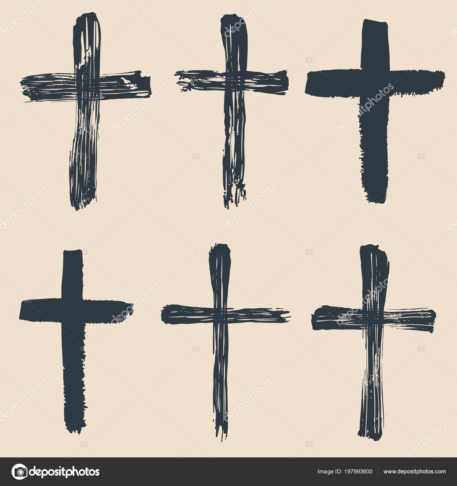 Grunge Religious Baptism Christian Crosses Crucifix Symbols