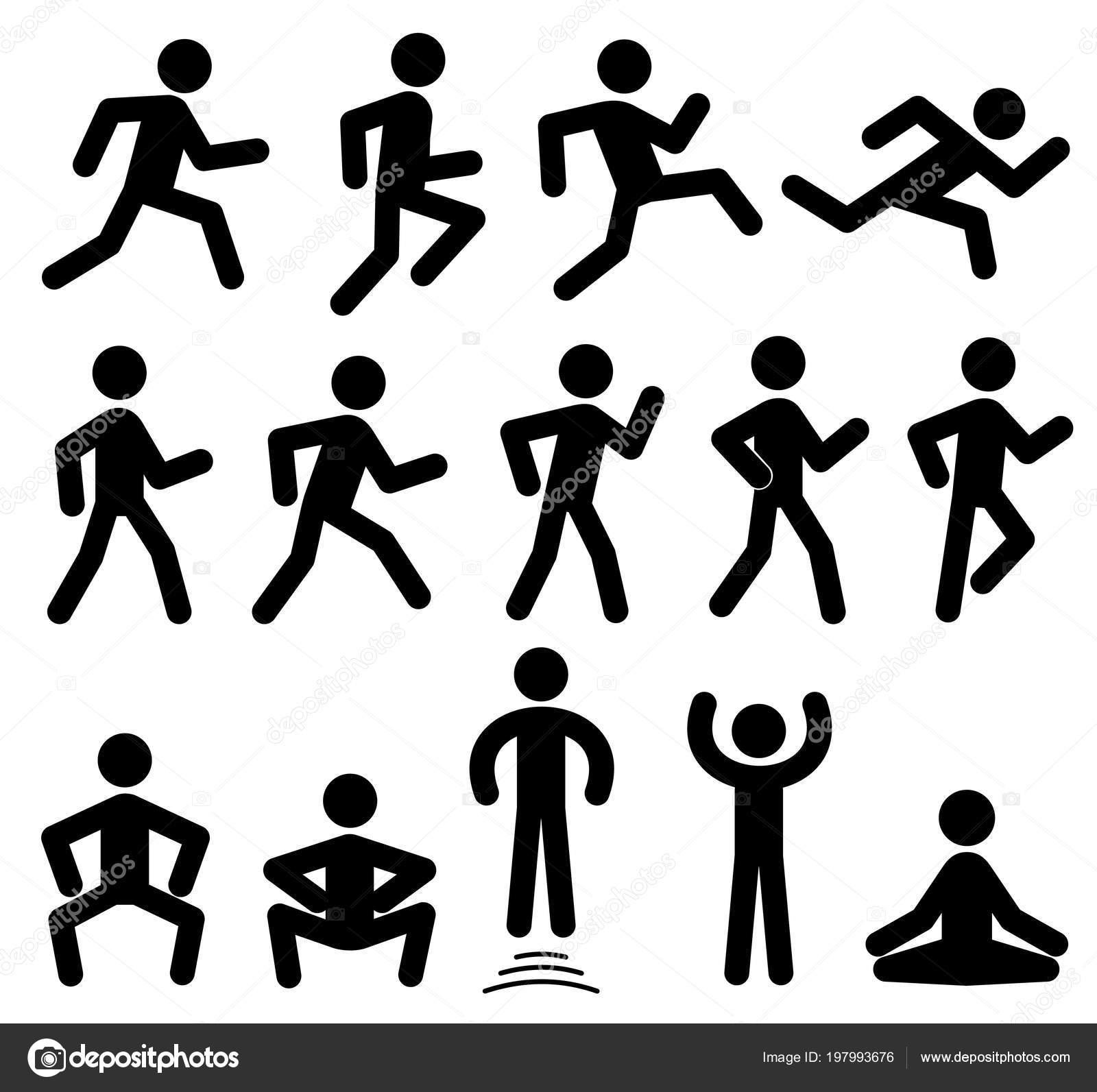 Sagome Stilizzate Di Persone.Vettore Di Persone Nere Figure Di Persone In Movimento