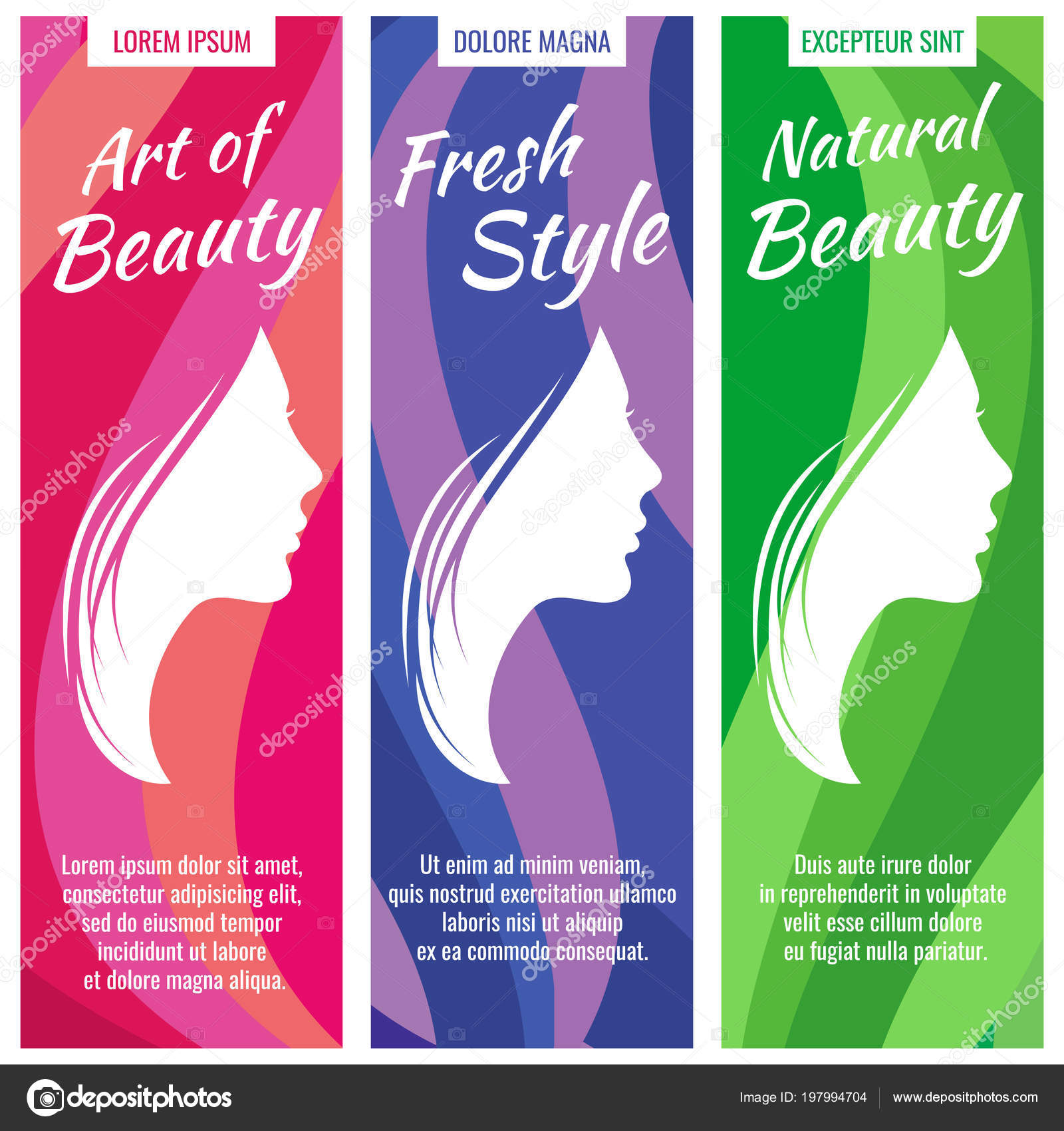 Abstract Vector Banners For Beauty And Cosmetic Salon Set With Beautiful Woman Profile Female Portrait Young Girl Face Stock Vector C Microone 197994704