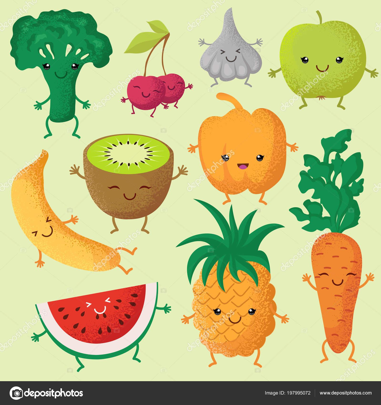 feliz de dibujos animados frutas y verduras con caras lindas